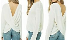 Ivory Cross Back Sweater Large Open Long Sleeve Lightweight Pullover Cardiga NWT