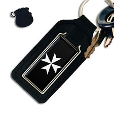 KNIGHTS OF MALTA MALTESE CROSS  MASONIC OBLONG LEATHER KEYRING / KEYFOB