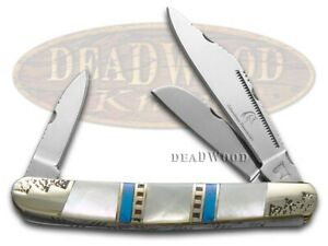 Silverhorse Mother of Pearl & Blue Turquoise Stockman Stainless SHS112HH Knife