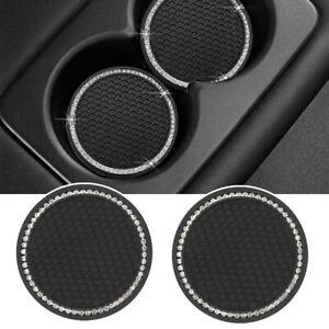 2Pcs Accessory Bling Cup Holder Insert Coaster Car Anti Slip Rhinestone Coaster