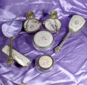 VINTAGE PETIT POINT NEEDLEWORK MIRROR DRESSING TABLE SET FILIGREE BRASS work