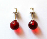 Genuine Baltic amber earrings, red colour ball beads, 925 sterling silver stud