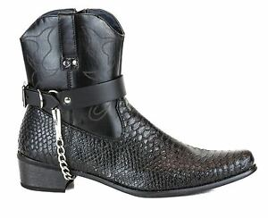 Boot Strap Genuine Leather Punk Goth Cowboy Bikers Western Boot 2 Pcs