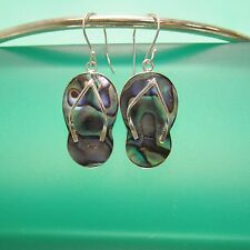 "1""Natural Abalone Paua Shell Sandal Handmade Drop Earrings 925 Sterling Silver"