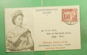 DR WHO 1953 FIJI FDC ROYAL VISIT QEII CACHET g14544
