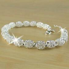 Women's 925 Silver Charm Chain Bracelet Wedding Fashion Elegant Jewelry Gifts UK
