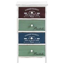 Commode chiffonnier 4tiroirs colorés en bois paulownia shabby chic vintage blanc