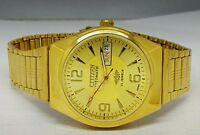 CITIZEN AUTOMATIC MEN,S GOLD PLATED DAY DATE GOLD DIAL WRIST WATCH RUN ORDER