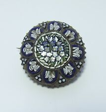 MICRO MOSAIC ITALIAN BROOCH VINTAGE JEWELLERY ROUND BLUE FORGET ME NOT FLOWERS