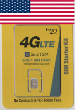 NEW, H2O Wireless USA, SIM card. NANO, MICRO or STD size. For USA.