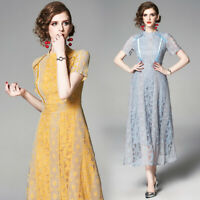 2019 Summer Runway Floral Lace Crew Neck Short Sleeve Empire Waist Women Dress