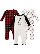 Infant Hudson Baby 3 Union Suits Penguin & Plaid Design Red/White 18 Months