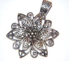 STATEMENT PENDANT ~ Antiqued Silver Filigree Flower Necklace Pendant ~ 65mm