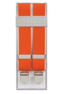 Bright Orange Trouser Braces Mens Suspenders 4 Strong Clips XL XXL Extra Long