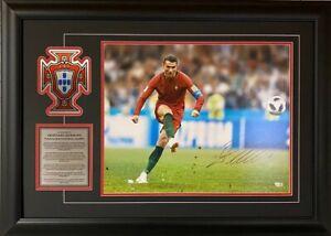Cristiano Ronaldo Portugal Autographed 16'' x 20'' Kicking Photograph Framed COA