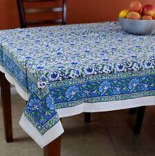 Handmade Hand Block Print 100% Cotton Floral Tablecloth 60x60 Blue Green