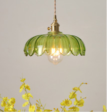 Green Adjustable Glass Pendant Ceiling Lights Vintage Metal Kitchen Hanging Lamp