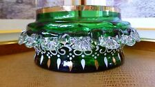 ANTIQUE VICTORIAN BOHEMIAN ART GLASS BOWL WITH GOLD GILD AND ENAMEL