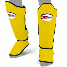 Twins Shin Guards Double Padded Yellow Leather SGL10 Pads Muay Thai Kickboxing