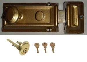 Night Latch Rim Door Lock Brass Front Door 60mm Cylinder 3 Key Set- Heavy Duty.