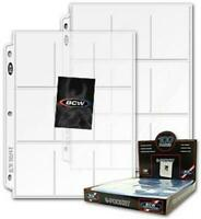 100 BCW 9 Trading Gaming Cards Pockets Pages For 3 Rings Binders 2 5/8 x 3 9/16