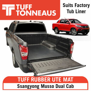 Rubber Ute Tuff Mat for Ssangyong Musso Dual Cab- with Factory Liner Only.2018+