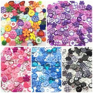 100 Variety Mix Wood Acrylic Plastic Buttons For Cardmaking Embellishments Craft