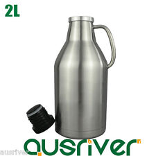Double Layers Stainless Steel 2L Beer Keg Mini Thermos Bottle Growler Homebrew