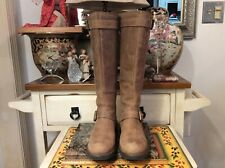 Clarks Women's Zip -up Tall  distressed Brown leather Moto Boots Size US 7M