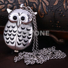 Lovely Retro Cute Silver Owl Pendant Necklace Quartz Chain Pocket New Watch