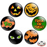 "Halloween 1.25"" Pinback Button BADGE SET Novelty Pins Jack Lantern Bats RIP Gift"