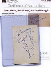 Vintage JOE DIMAGGIO-DEAN MARTIN-JERRY LEWIS Signed 500 Club Autographs COA