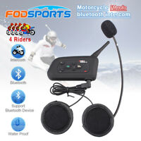 V4-1200M Bluetooth Interphone BT Bike Motorcycle Helmet Intercom Headset FM AU
