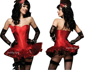 RED Strapless SATIN CORSET HOLIDAY Boning SIDE Zipper LACE-UP Waist CINCHER