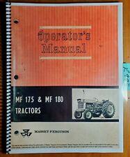 Massey Ferguson MF 175 MF 180 Tractor Owner's Operator's Manual  690 874 M1 5/67