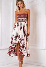 UK Womens Holiday Floral Bandeau Maxi Dress Evening Party Beach Long Sundress