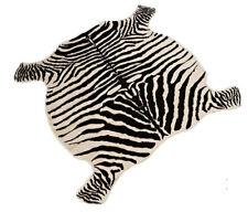 4.9'X4.8' Large Zebra Cowhide Rug TRICOLOR Cowskin Faux Cow Hide Leather Carpet