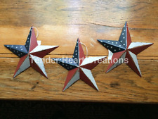 "(Set of 3)  8"" PATRIOTIC AMERICANA  PRIMITIVE COUNTRY G8T W BLACK BARN STARS"
