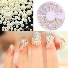 3D Half-round Pearl Gems Nail Art Tips 3D Acrylic UV Gel DIY Decoration Set