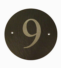 ENGRAVED ROUND SLATE HOUSE NUMBER DOOR/ GATE PLAQUE SIGN