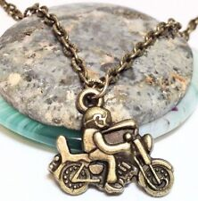 "BIKER_Small Bronze Pendant on 18"" Chain Necklace_Motorcycle Ride Bike Harley_24N"