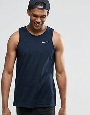 Nike New Mens Embroidered Swoosh Logo  Summer  Vest Gym Running Top Navy/black