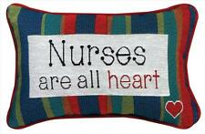 "NURSES ARE ALL HEART Decorative Throw Pillow, 12.5"" x 8.5"", by Manual Weavers"