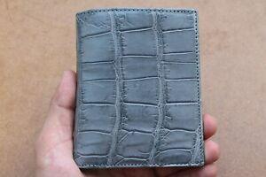 Genuine Alligator Crocodile Leather Skin Men Bifold Wallets Handmade Gray