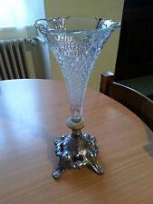 Bonito florero para una sola flor de vidrio y el pie de metal arte deco vintage