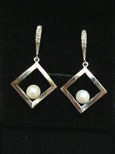 STERLING SILVER 925 AKOYA Japanese Pearl Square Earrings Dangle BNWT $425