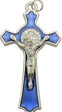 "MRT St Benedict Blue Enamel Pectoral Crucifix Pendant Catholic Cross Gift 2"""