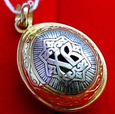 RUSSIAN ORTHODOX RUSSIAN ICON PENDANT- EGG XB. SILVER+GOLD RARE. EASTER EGG. NEW