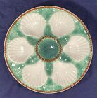 """Vintage Majolica Longchamp Oyster Plate 9 1/2"""" French Green & White (x10)"""