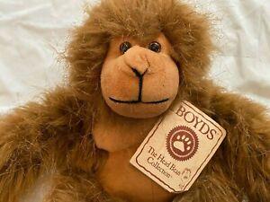 Boyds Die Kopf Bohnen Sammlung Ollie Ape Affe Orang-Utan Plüsch Mit Tag 19.1cm